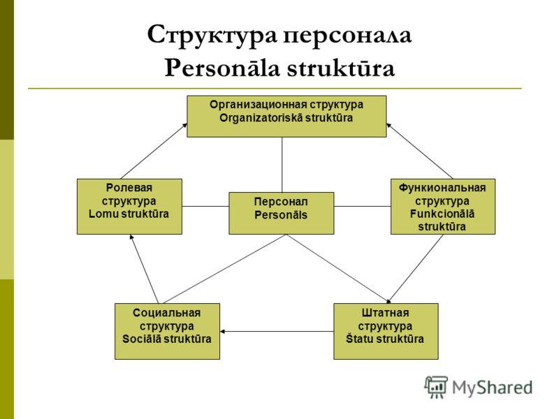 Структура персонала Personāla struktūra Организационная структура Organizatoriskā struktūra Персонал Personāls Ролевая структура Lomu struktūra Функиональная структура Funkcionālā struktūra Социальная структура Sociālā struktūra Штатная структура Šta