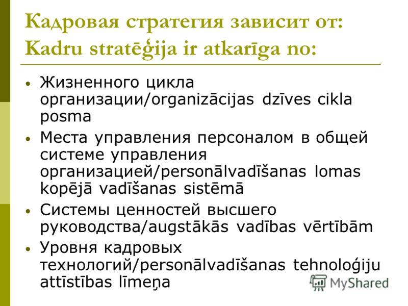 Кадровая стратегия зависит от: Kadru stratēģija ir atkarīga no: Жизненного цикла организации/organizācijas dzīves cikla posma Места управления персоналом в общей системе управления организацией/personālvadīšanas lomas kopējā vadīšanas sistēmā Системы