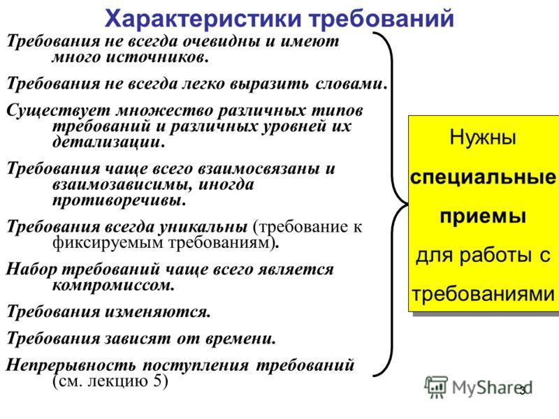 3 Требования не всегда очевидны и имеют много источников. Требования не всегда легко выразить словами. Существует множество различных типов требований и различных уровней их детализации. Требования чаще всего взаимосвязаны и взаимозависимы, иногда пр