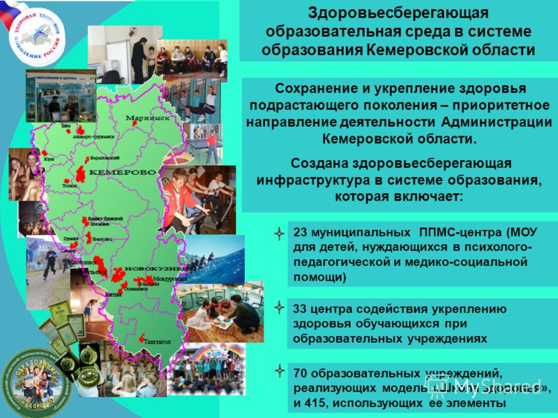 Сохранение и укрепление здоровья подрастающего поколения – приоритетное направление деятельности Администрации Кемеровской области. Создана здоровьесберегающая инфраструктура в системе образования, которая включает: 23 муниципальных ППМС-центра (МОУ