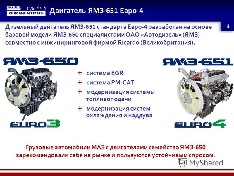 Двигатель ЯМЗ -651 Евро -4 4 Дизельный двигатель ЯМЗ -651 стандарта Евро -4 разработан на основе базовой модели ЯМЗ -650 специалистами ОАО «Автодизель» (ЯМЗ) совместно с инжиниринговой фирмой Ricardo (Великобритания). Грузовые автомобили МАЗ с двигат