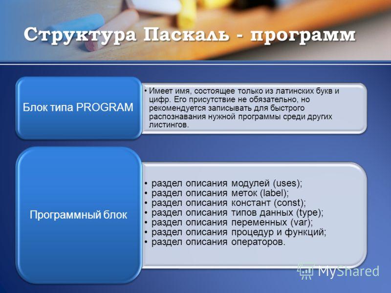 Структура Паскаль - программ Имеет имя, состоящее только из латинских букв и цифр. Его присутствие не обязательно, но рекомендуется записывать для быстрого распознавания нужной программы среди других листингов. Блок типа PROGRAM раздел описания модул