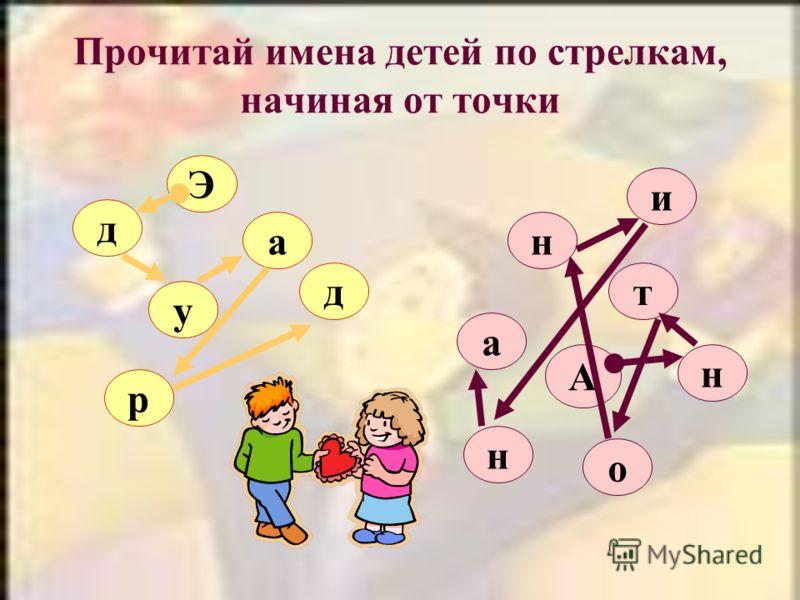 Прочитай имена детей по стрелкам, начиная от точки Э д а у д р н А о и а т н н