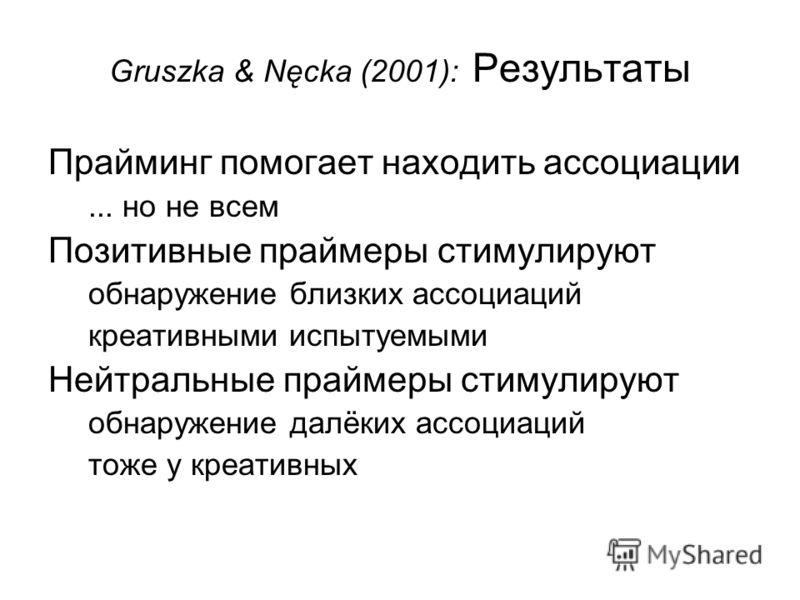 Gruszka & Nęcka (2001): Результаты Прайминг помогает находить ассоциации... но не всем Позитивные праймеры стимулируют обнаружение близких ассоциаций креативными испытуемыми Нейтральные праймеры стимулируют обнаружение далёких ассоциаций тоже у креат