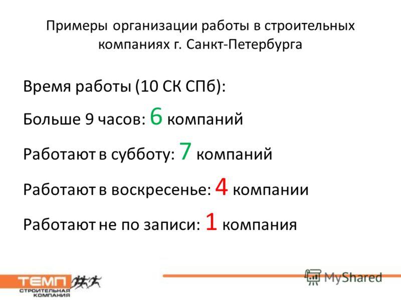 Примеры организации работы в строительных компаниях г. Санкт-Петербурга Время работы (10 СК СПб): Больше 9 часов: 6 компаний Работают в субботу: 7 компаний Работают в воскресенье: 4 компании Работают не по записи: 1 компания