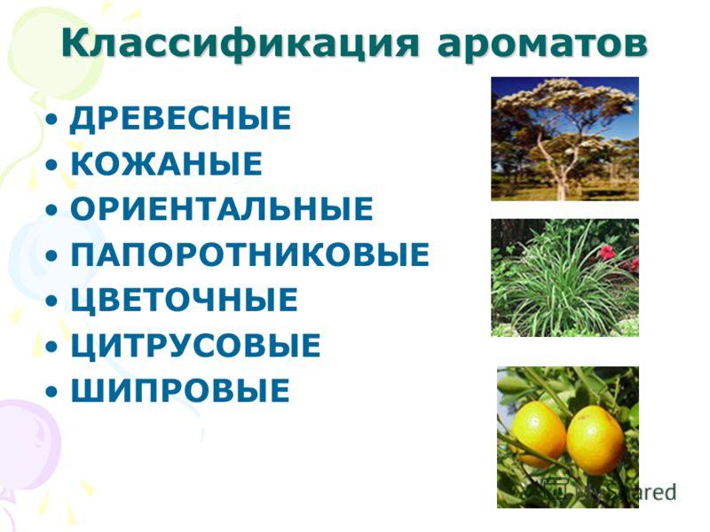 Классификация ароматов ДРЕВЕСНЫЕ КОЖАНЫЕ ОРИЕНТАЛЬНЫЕ ПАПОРОТНИКОВЫЕ ЦВЕТОЧНЫЕ ЦИТРУСОВЫЕ ШИПРОВЫЕ
