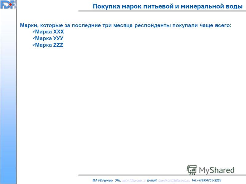 Покупка марок питьевой и минеральной воды MA FDFgroup. URL www.fdfgroup.ru E-mail: gnedkov@fdfgroup.ru Tel:+7(495)755-2224www.fdfgroup.rugnedkov@fdfgroup.ru Марки, которые за последние три месяца респонденты покупали чаще всего: Марка ХХХ Марка УУУ М