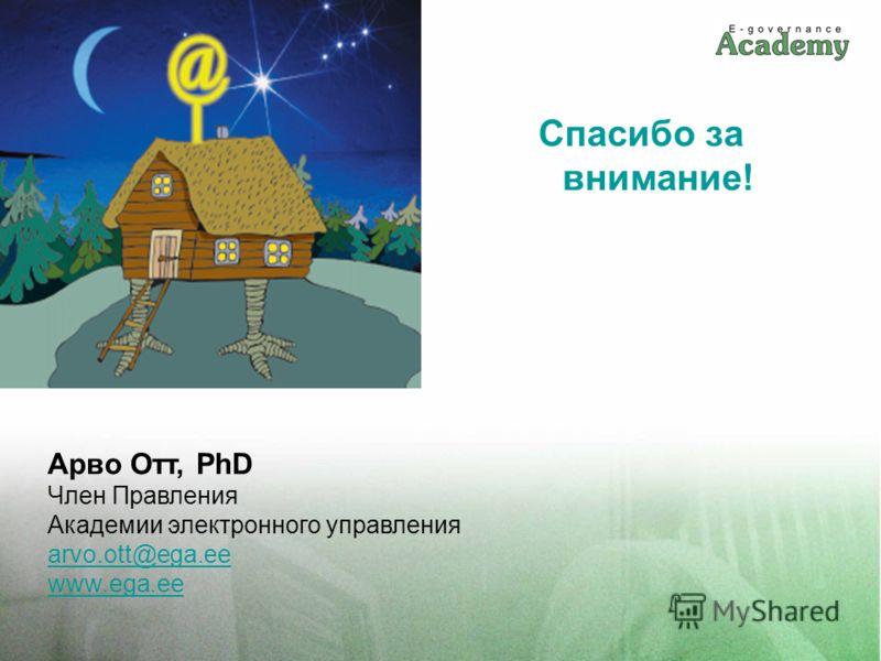 Спасибо за внимание! Арво Отт, PhD Член Правления Академии электронного управления arvo.ott@ega.ee www.ega.ee