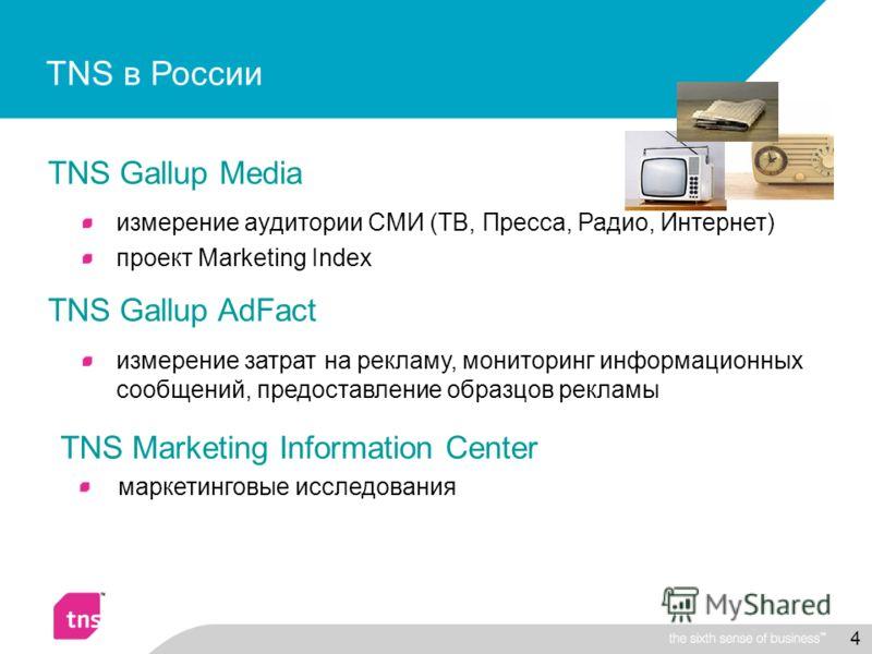 4 TNS Gallup Media измерение аудитории СМИ (ТВ, Пресса, Радио, Интернет) проект Marketing Index TNS Gallup AdFact измерение затрат на рекламу, мониторинг информационных сообщений, предоставление образцов рекламы TNS в России TNS Marketing Information