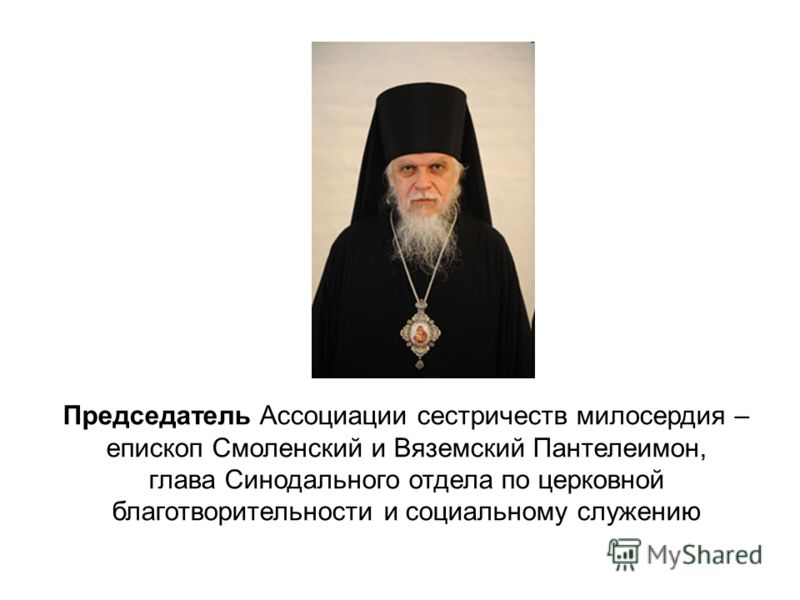 Председатель Ассоциации сестричеств милосердия – епископ Смоленский и Вяземский Пантелеимон, глава Синодального отдела по церковной благотворительности и социальному служению