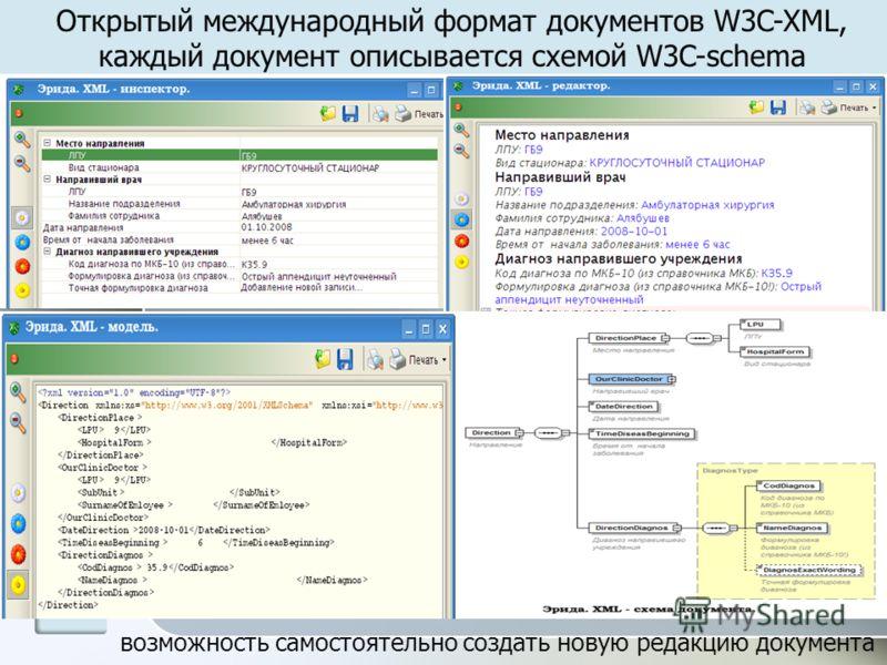 возможность самостоятельно создать новую редакцию документа Открытый международный формат документов W3C-XML, каждый документ описывается схемой W3C-schema