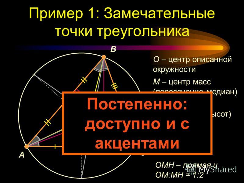 Пример 1: Замечательные точки треугольника A B C O MH I O – центр описанной окружности M – центр масс (пересечение медиан) H – ортоцентр (пересечение высот) I – инцентр (пересечение биссектрис) OMH – прямая и OM:MH = 1:2 Слишком много и сразу !