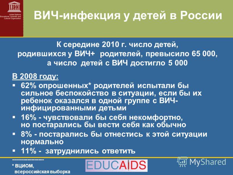 ВИЧ-инфекция у детей в России К середине 2010 г. число детей, родившихся у ВИЧ+ родителей, превысило 65 000, а число детей с ВИЧ достигло 5 000 В 2008 году: 62% опрошенных* родителей испытали бы сильное беспокойство в ситуации, если бы их ребенок ока