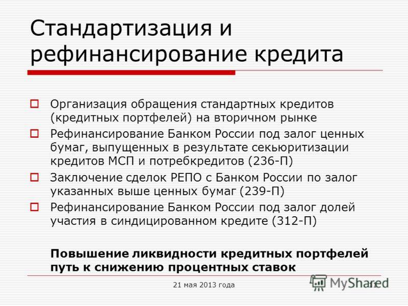 Стандартизация и рефинансирование кредита Организация обращения стандартных кредитов (кредитных портфелей) на вторичном рынке Рефинансирование Банком России под залог ценных бумаг, выпущенных в результате секьюритизации кредитов МСП и потребкредитов