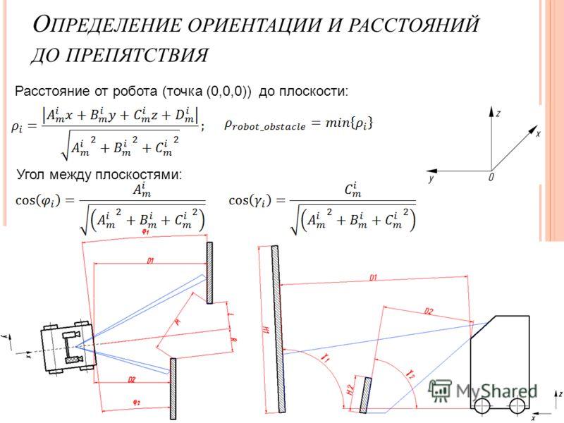 О ПРЕДЕЛЕНИЕ ОРИЕНТАЦИИ И РАССТОЯНИЙ ДО ПРЕПЯТСТВИЯ Расстояние от робота (точка (0,0,0)) до плоскости: Угол между плоскостями: