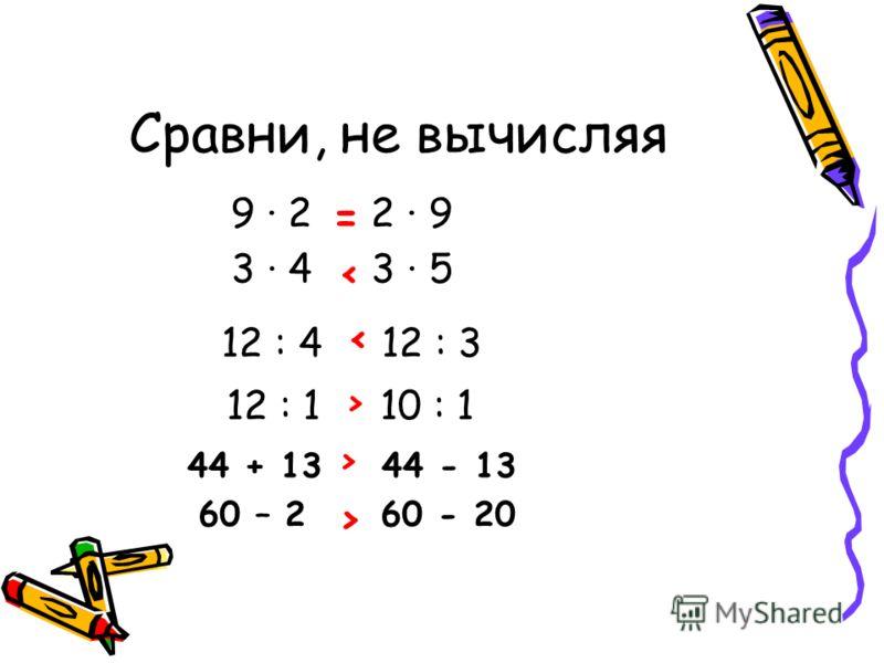 Сравни, не вычисляя 9 2 2 9 = 3 4 3 5 < 12 : 4 12 : 3 < 12 : 1 10 : 1 > 44 + 13 44 - 13 > 60 – 2 60 - 20 >