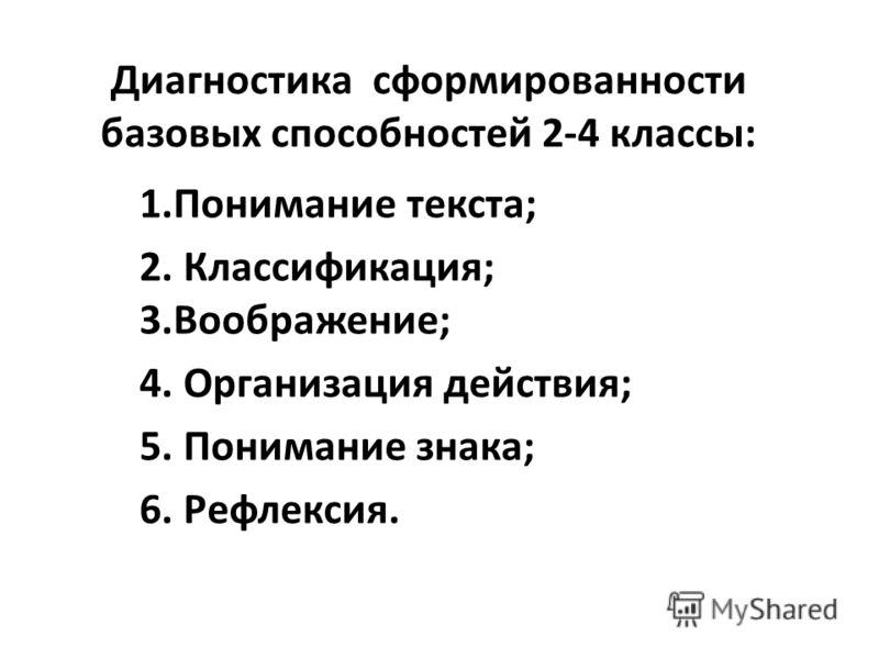 Диагностика сформированности базовых способностей 2-4 классы: 1.Понимание текста; 2. Классификация; 3.Воображение; 4. Организация действия; 5. Понимание знака; 6. Рефлексия.