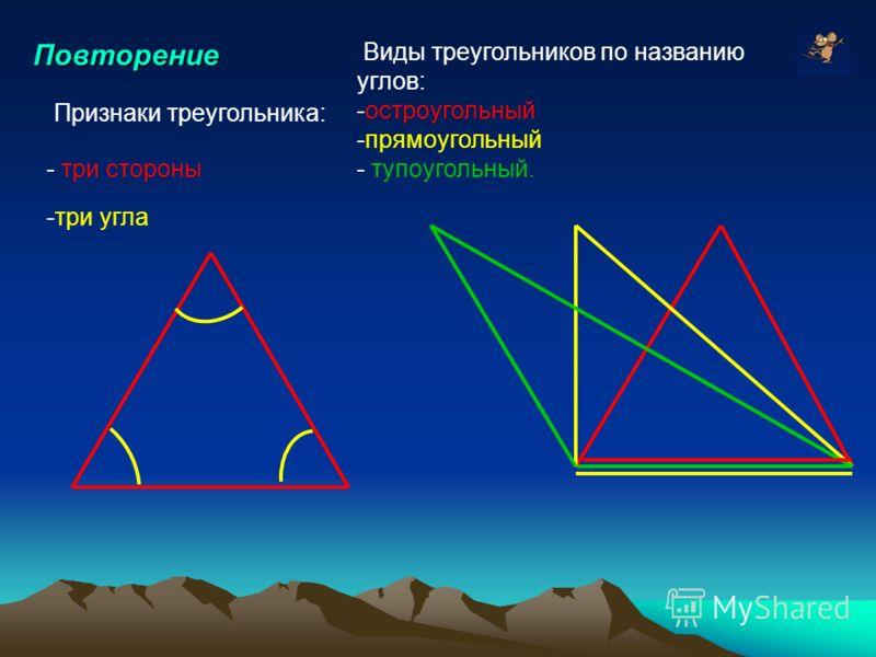 Повторение Виды треугольников по названию углов: -остроугольный -прямоугольный - тупоугольный. Признаки треугольника: - три стороны -три угла