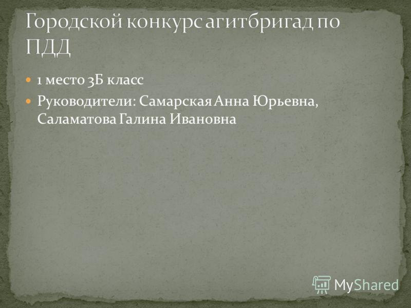 1 место 3Б класс Руководители: Самарская Анна Юрьевна, Саламатова Галина Ивановна