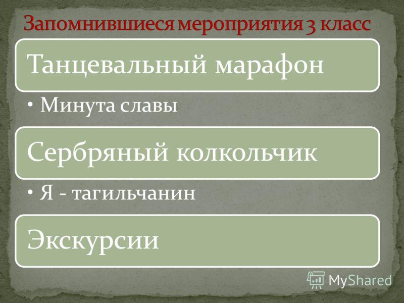 Танцевальный марафон Минута славы Сербряный колкольчик Я - тагильчанин Экскурсии