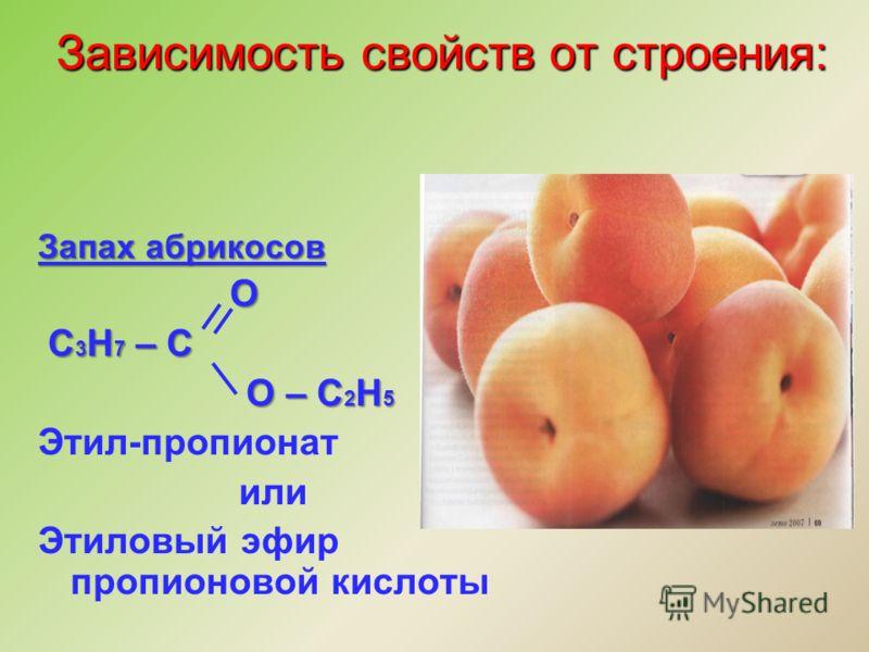 Запах абрикосов О С 3 Н 7 – С С 3 Н 7 – С О – С 2 Н 5 О – С 2 Н 5 Этил-пропионат или Этиловый эфир пропионовой кислоты Зависимость свойств от строения: