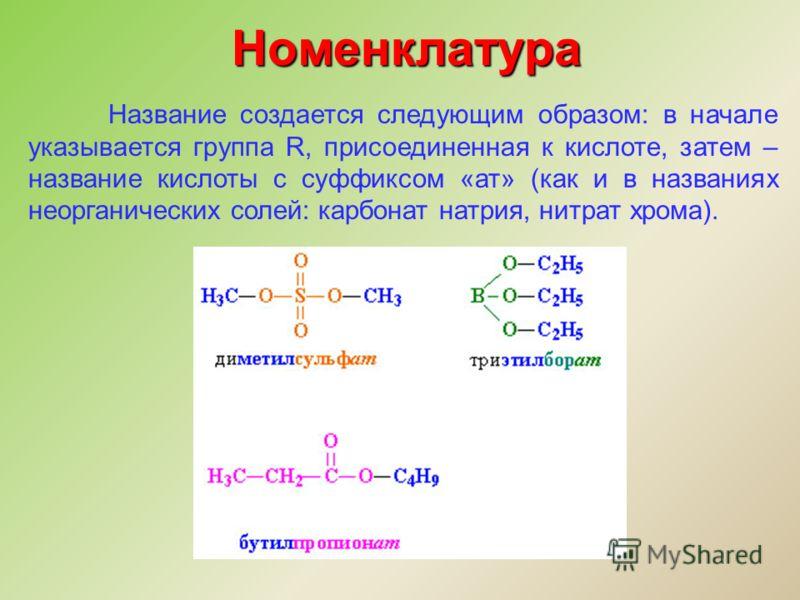 Номенклатура Название создается следующим образом: в начале указывается группа R, присоединенная к кислоте, затем – название кислоты с суффиксом «ат» (как и в названиях неорганических солей: карбонат натрия, нитрат хрома).
