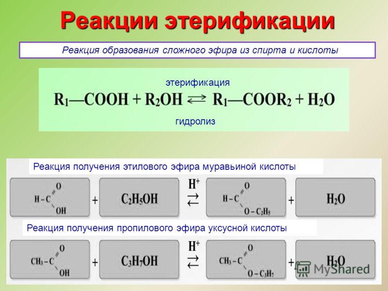 Реакции этерификации Реакция образования сложного эфира из спирта и кислоты гидролиз этерификация Реакция получения этилового эфира муравьиной кислоты Реакция получения пропилового эфира уксусной кислоты