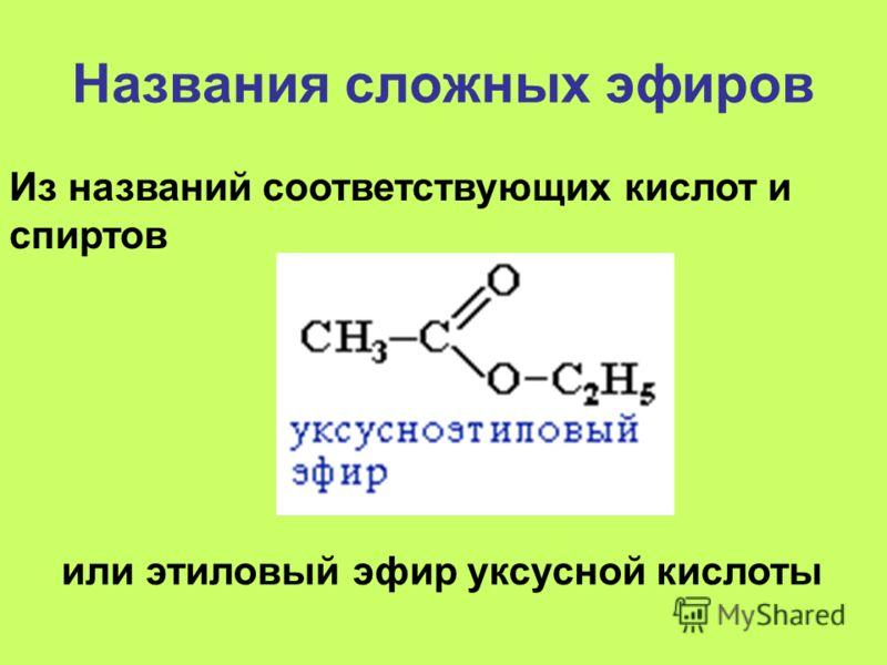 Названия сложных эфиров или этиловый эфир уксусной кислоты Из названий соответствующих кислот и спиртов