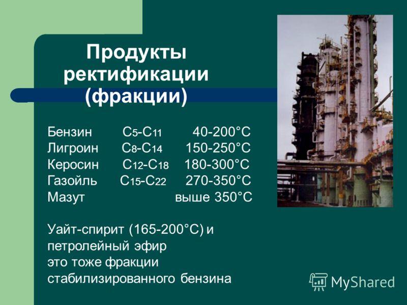 Продукты ректификации (фракции) Бензин С 5 -С 11 40-200°С Лигроин С 8 -С 14 150-250°С Керосин С 12 -С 18 180-300°С Газойль С 15 -С 22 270-350°С Мазут выше 350°С Уайт-спирит (165-200°С) и петролейный эфир это тоже фракции стабилизированного бензина