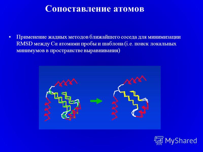 Сопоставление атомов Применение жадных методов ближайшего соседа для минимизации RMSD между Cα атомами пробы и шаблона (i.e. поиск локальных минимумов в пространстве выравнивания)