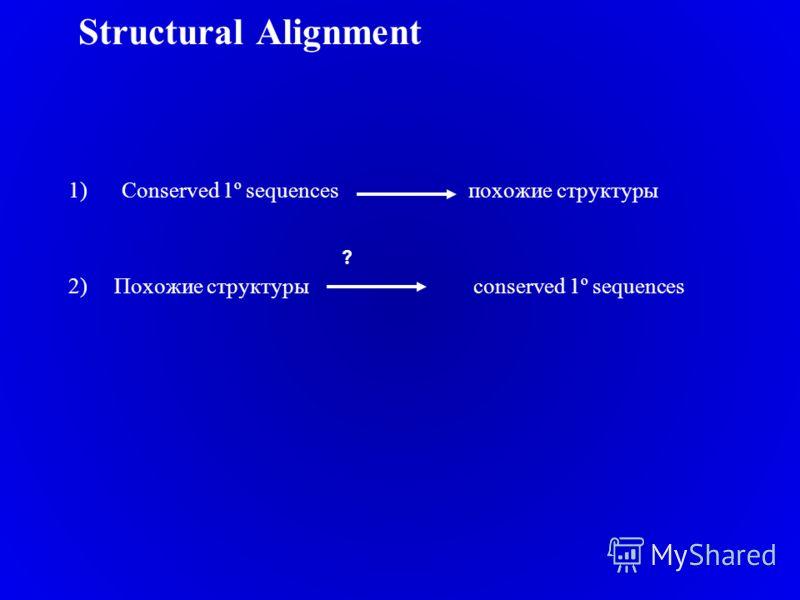 Structural Alignment 1)Conserved 1º sequences похожие структуры 2) Похожие структуры conserved 1º sequences ?