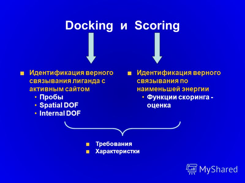 Docking и Scoring Идентификация верного связывания лиганда с активным сайтом Пробы Spatial DOF Internal DOF Идентификация верного связывания по наименьшей энергии Функции скоринга - оценка Требования Характеристки