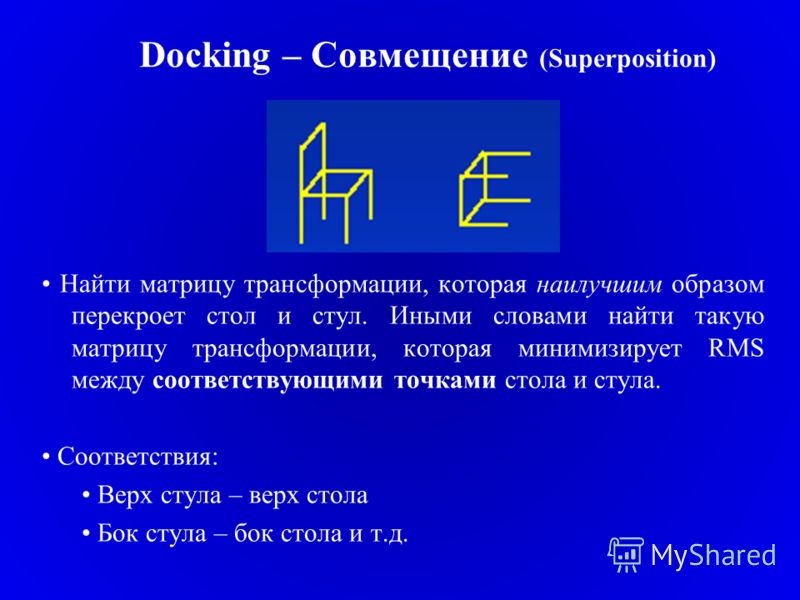 Docking – Совмещение (Superposition) Найти матрицу трансформации, которая наилучшим образом перекроет стол и стул. Иными словами найти такую матрицу трансформации, которая минимизирует RMS между соответствующими точками стола и стула. Соответствия: В