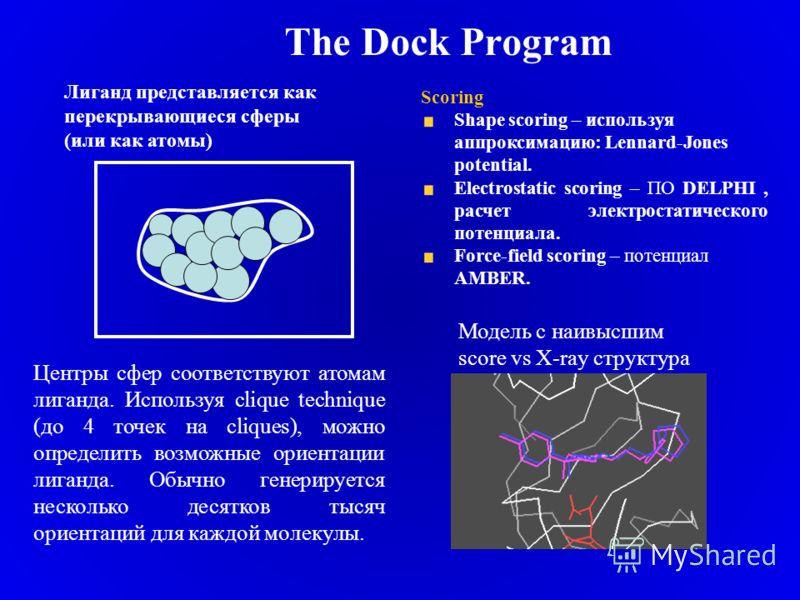 The Dock Program Центры сфер соответствуют атомам лиганда. Используя clique technique (до 4 точек на cliques), можно определить возможные ориентации лиганда. Обычно генерируется несколько десятков тысяч ориентаций для каждой молекулы. Лиганд представ