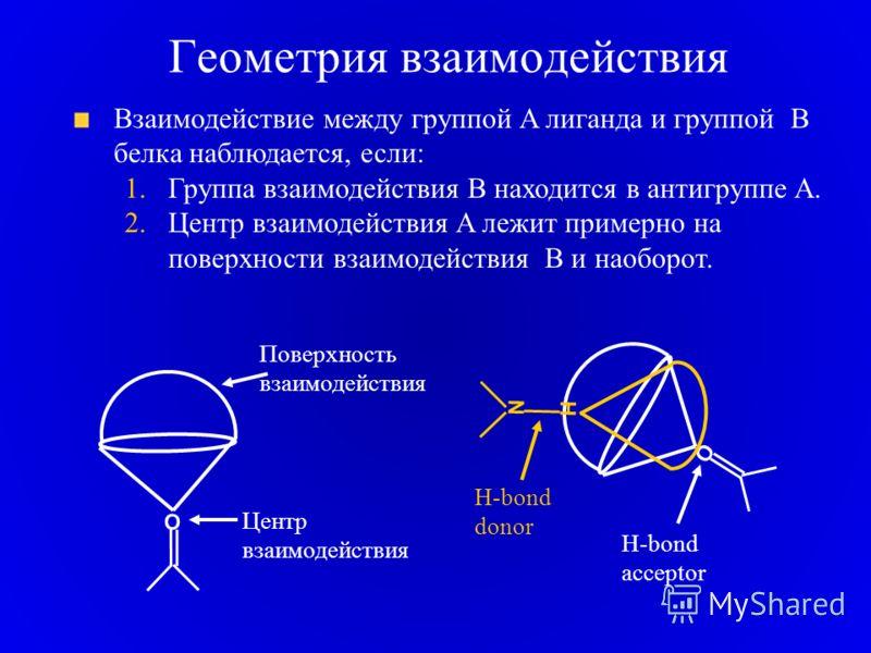 Геометрия взаимодействия Взаимодействие между группой A лиганда и группой B белка наблюдается, если: 1.Группа взаимодействия B находится в антигруппе A. 2.Центр взаимодействия A лежит примерно на поверхности взаимодействия B и наоборот. O Центр взаим