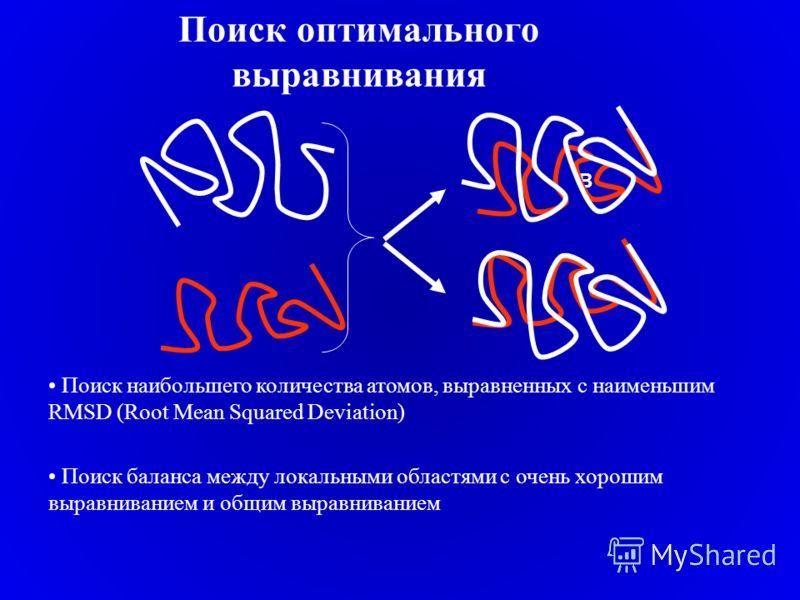 Поиск оптимального выравнивания B Поиск наибольшего количества атомов, выравненных с наименьшим RMSD (Root Mean Squared Deviation) Поиск баланса между локальными областями с очень хорошим выравниванием и общим выравниванием
