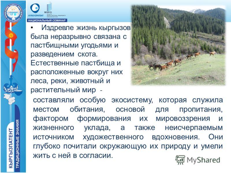 Издревле жизнь кыргызов была неразрывно связана с пастбищными угодьями и разведением скота. Естественные пастбища и расположенные вокруг них леса, реки, животный и расти тельный мир - составляли особую экосистему, которая служила местом обитания, осн