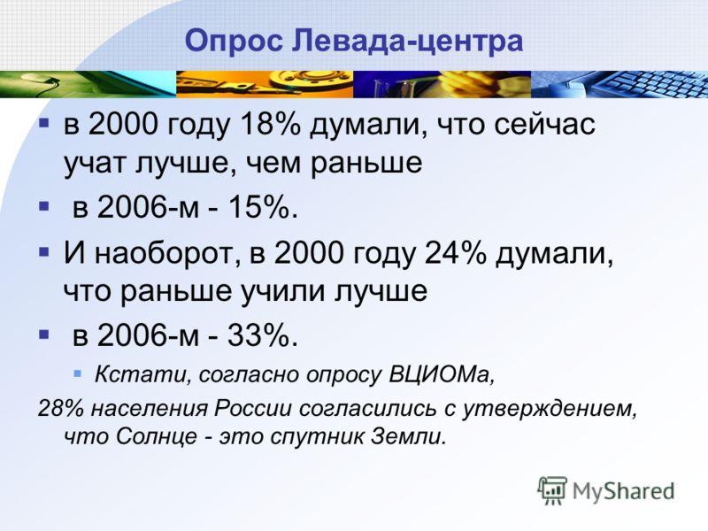 Опрос Левада-центра в 2000 году 18% думали, что сейчас учат лучше, чем раньше в 2006-м - 15%. И наоборот, в 2000 году 24% думали, что раньше учили лучше в 2006-м - 33%. Кстати, согласно опросу ВЦИОМа, 28% населения России согласились с утверждением,