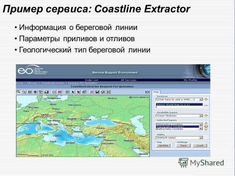 Пример сервиса: Сoastline Extractor Информация о береговой линии Параметры приливов и отливов Геологический тип береговой линии