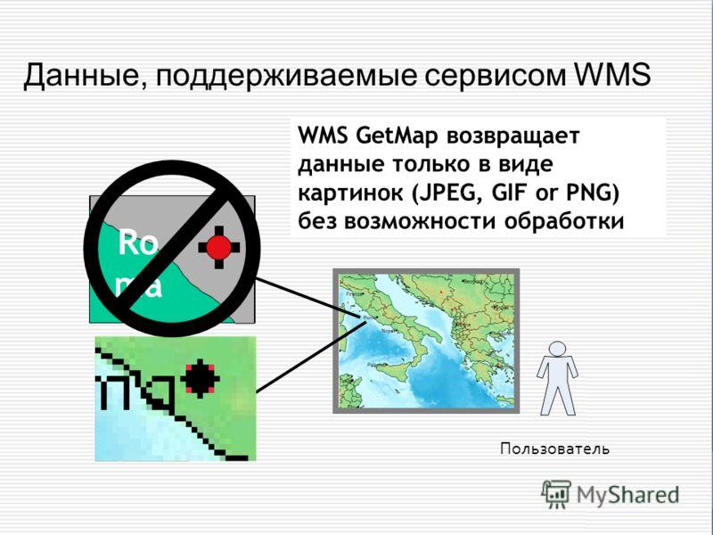 Данные, поддерживаемые сервисом WMS Ro ma WMS GetMap возвращает данные только в виде картинок (JPEG, GIF or PNG) без возможности обработки Пользователь