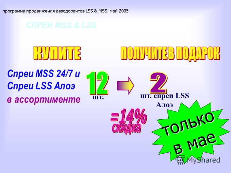 СПРЕИ MSS & LSS Спреи MSS 24/7 и Спреи LSS Алоэ в ассортименте программа продвижения дезодорантов LSS & MSS, май 2005 шт. шт. спреи LSS Алоэ только в мае