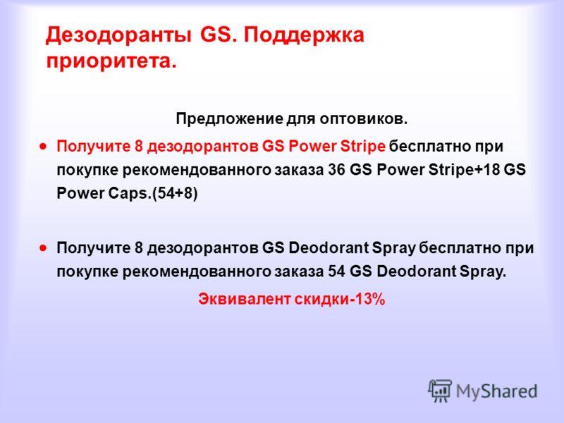 Дезодоранты GS. Поддержка приоритета. Предложение для оптовиков. Получите 8 дезодорантов GS Power Stripe бесплатно при покупке рекомендованного заказа 36 GS Power Stripe+18 GS Power Caps.(54+8) Получите 8 дезодорантов GS Deodorant Spray бесплатно при