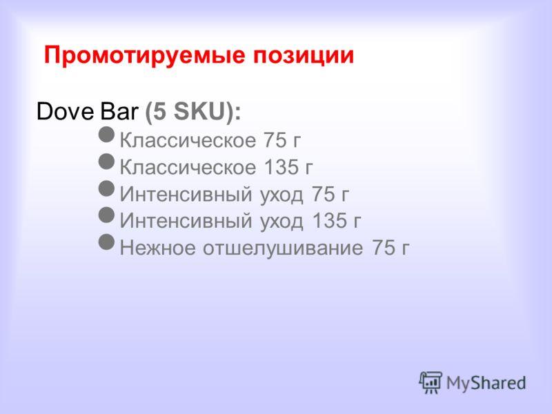 Промотируемые позиции Dove Bar (5 SKU): Классическое 75 г Классическое 135 г Интенсивный уход 75 г Интенсивный уход 135 г Нежное отшелушивание 75 г