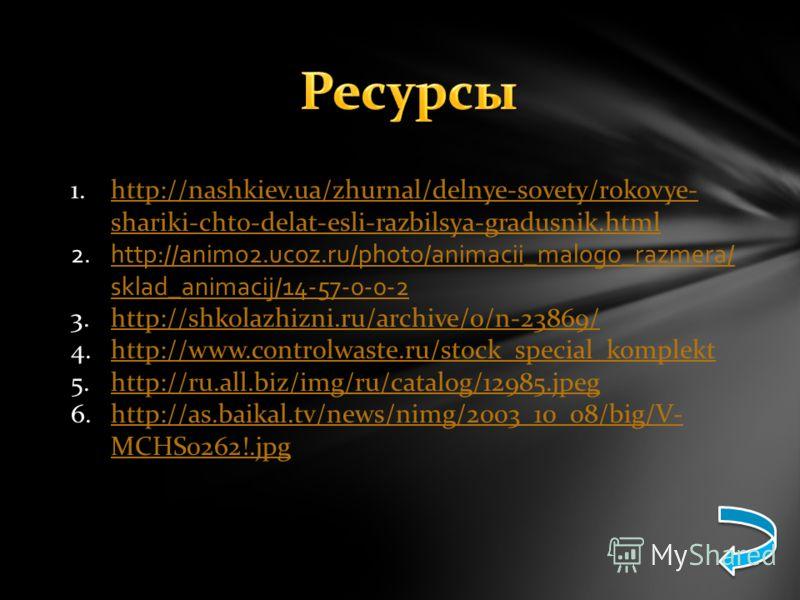 1.http://nashkiev.ua/zhurnal/delnye-sovety/rokovye- shariki-chto-delat-esli-razbilsya-gradusnik.htmlhttp://nashkiev.ua/zhurnal/delnye-sovety/rokovye- shariki-chto-delat-esli-razbilsya-gradusnik.html 2.http://animo2.ucoz.ru/photo/animacii_malogo_razme