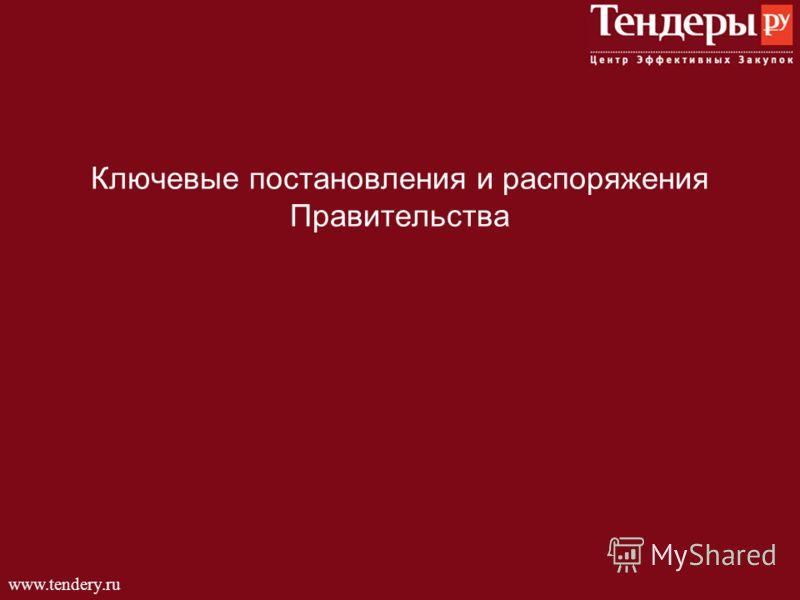 www.tendery.ru Ключевые постановления и распоряжения Правительства