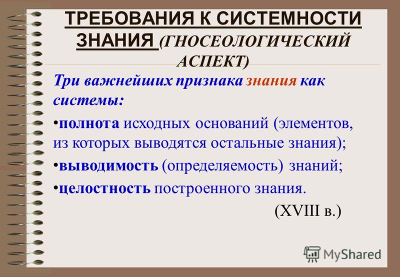 ТРЕБОВАНИЯ К СИСТЕМНОСТИ ЗНАНИЯ (ГНОСЕОЛОГИЧЕСКИЙ АСПЕКТ) Три важнейших признака знания как системы: полнота исходных оснований (элементов, из которых выводятся остальные знания); выводимость (определяемость) знаний; целостность построенного знания.