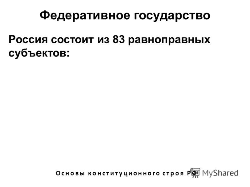 Федеративное государство Основы конституционного строя РФ Россия состоит из 83 равноправных субъектов: