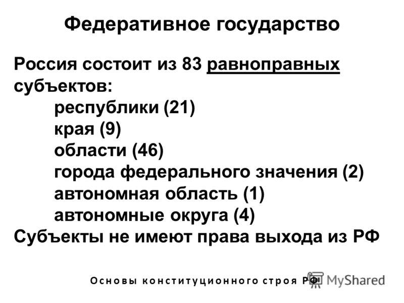 Федеративное государство Основы конституционного строя РФ Россия состоит из 83 равноправных субъектов: республики (21) края (9) области (46) города федерального значения (2) автономная область (1) автономные округа (4) Субъекты не имеют права выхода
