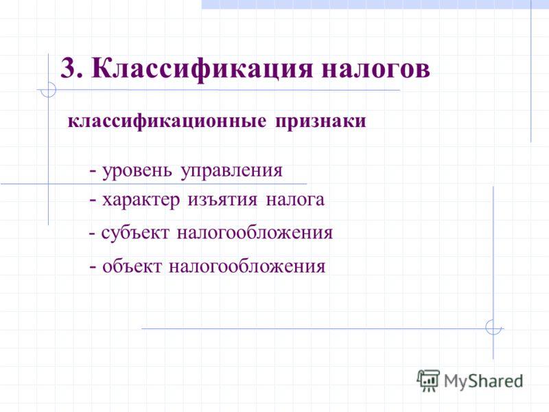 классификационные признаки 3. Классификация налогов - уровень управления - характер изъятия налога - субъект налогообложения - объект налогообложения