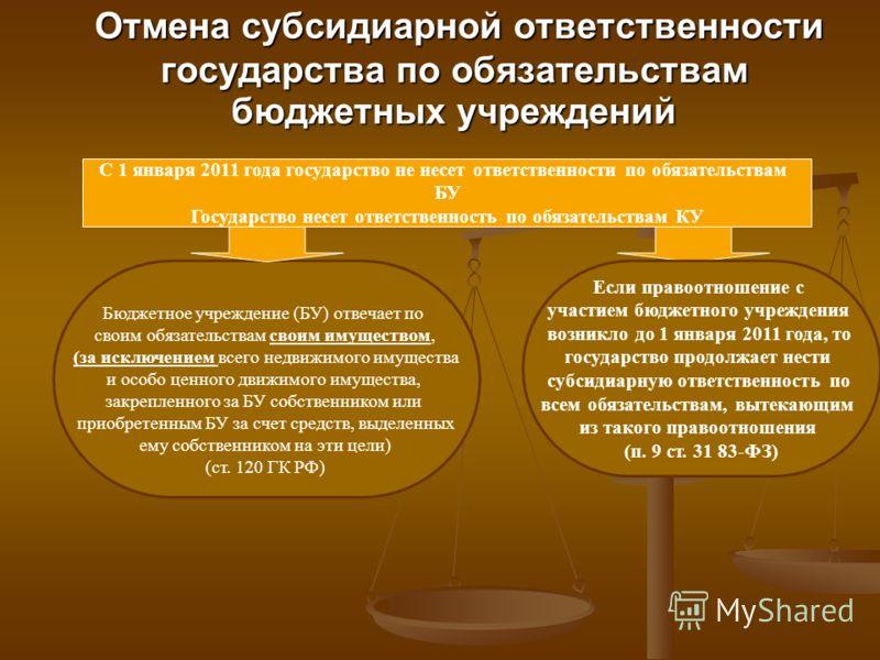 Отмена субсидиарной ответственности государства по обязательствам бюджетных учреждений Отмена субсидиарной ответственности государства по обязательствам бюджетных учреждений С 1 января 2011 года государство не несет ответственности по обязательствам